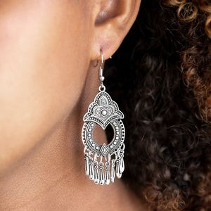 Paparazzi New Delhi Native Silver Earrings